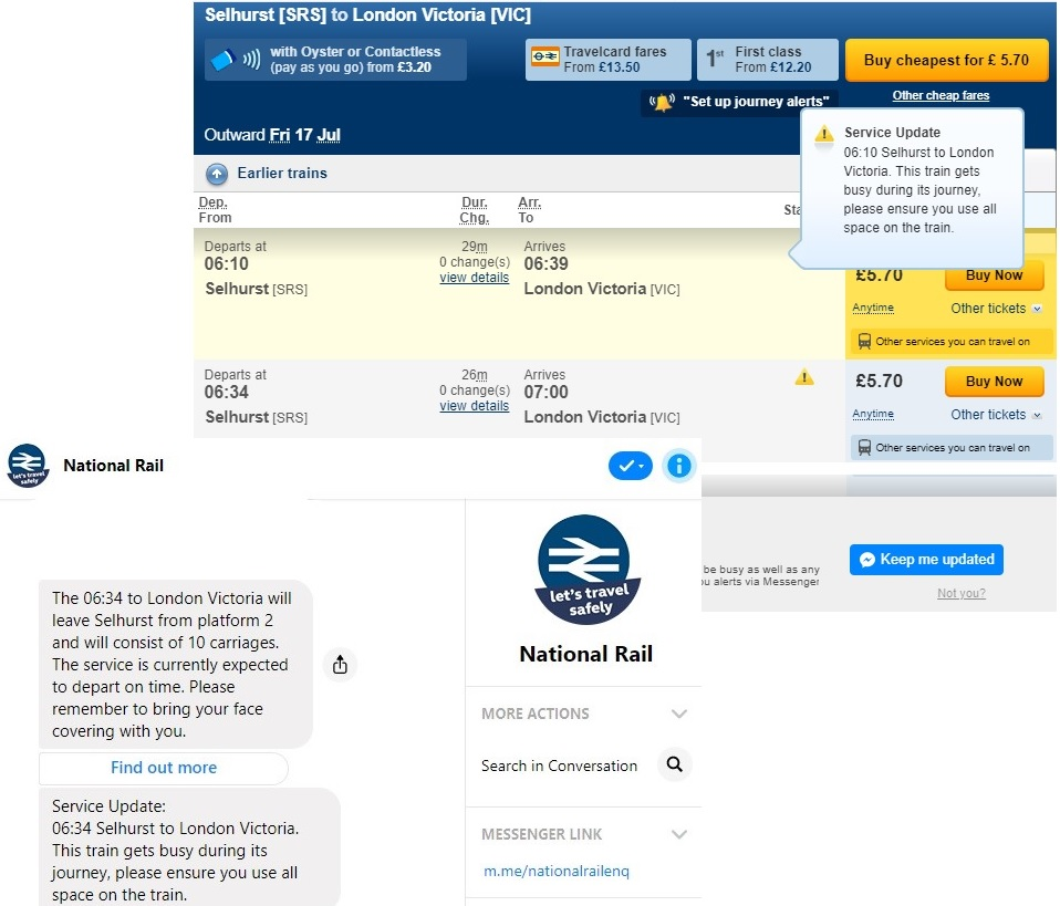 A screenshot of the National Rail Enquiries Journey Planner and Messenger Alert Service.